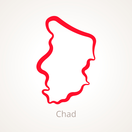 Outline map of Chad marked with red line.