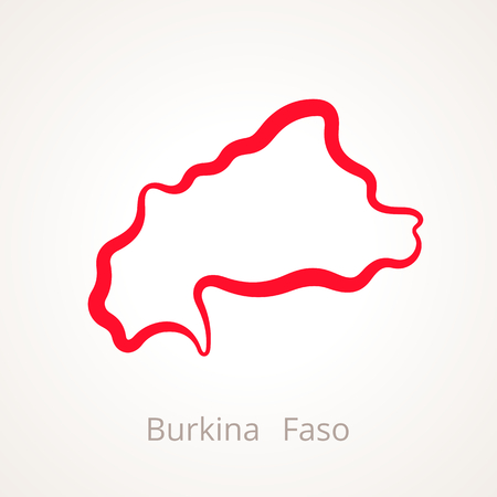 Outline map of Burkina Faso marked with red line. Illustration
