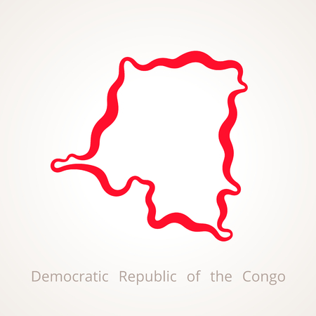 Outline map of Democratic Republic of the Congo marked with red line. Illustration