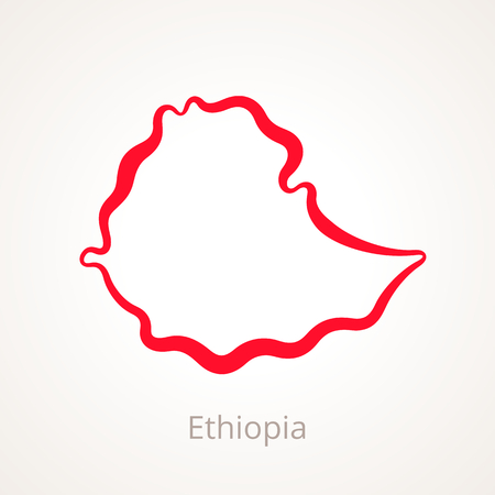Outline map of Ethiopia marked with red line.
