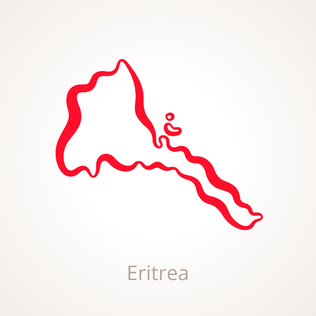 Outline map of Eritrea marked with red line. Illustration