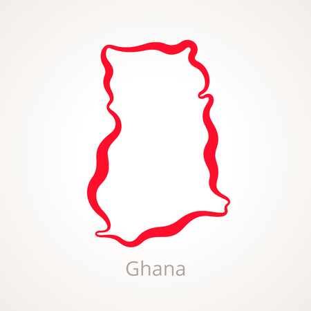 Outline map of Ghana marked with red line.