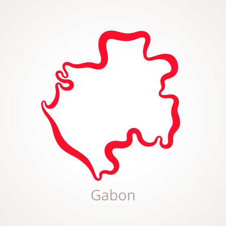 Outline map of Gabon marked with red line.