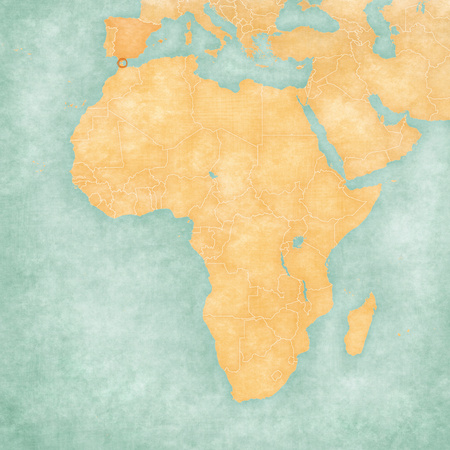 Ceuta on the map of Africa in soft grunge and vintage style, like old paper with watercolor painting.