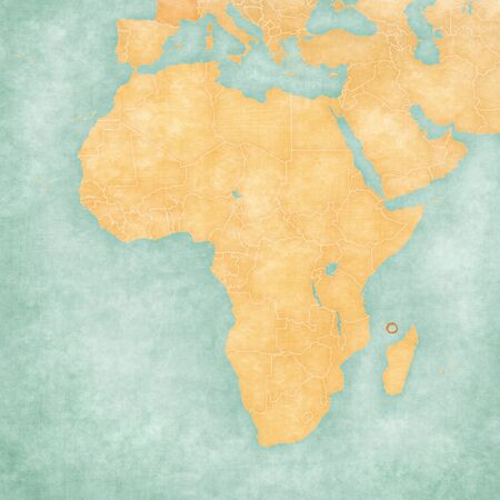 Mayotte on the map of Africa in soft grunge and vintage style, like old paper with watercolor painting.