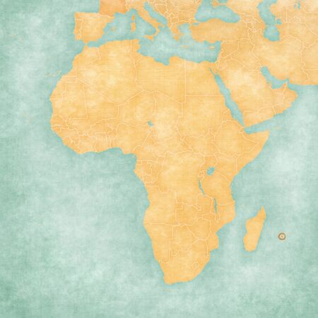 Reunion on the map of Africa in soft grunge and vintage style, like old paper with watercolor painting.