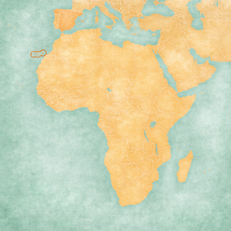 Canary Islands on the map of Africa in soft grunge and vintage style, like old paper with watercolor painting.