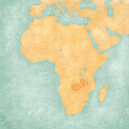 Zambia on the map of Africa in soft grunge and vintage style, like old paper with watercolor painting.