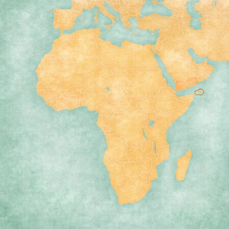 Socotra on the map of Africa in soft grunge and vintage style, like old paper with watercolor painting.