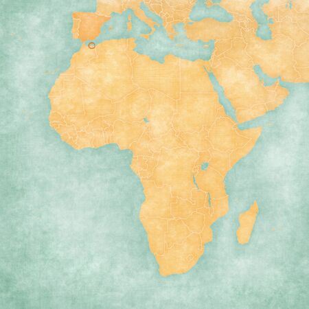 Melilla on the map of Africa in soft grunge and vintage style, like old paper with watercolor painting. Stock Photo