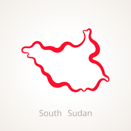 Outline map of South Sudan marked with red line.