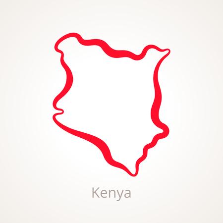 Outline map of Kenya marked with red line. Illustration