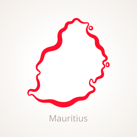 Outline map of Mauritius marked with red line.