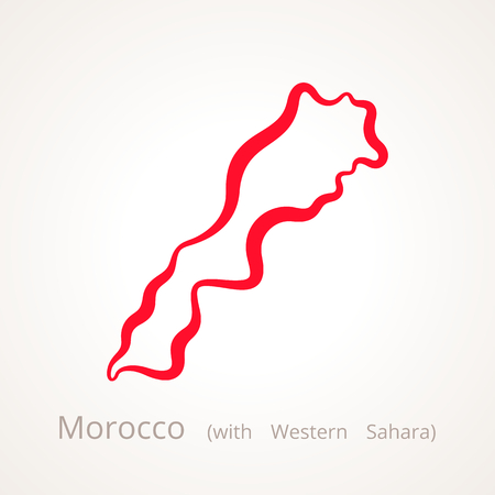 Outline map of Morocco with Western Sahara marked with red line.