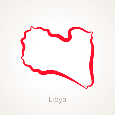 Outline map of Libya marked with red line.