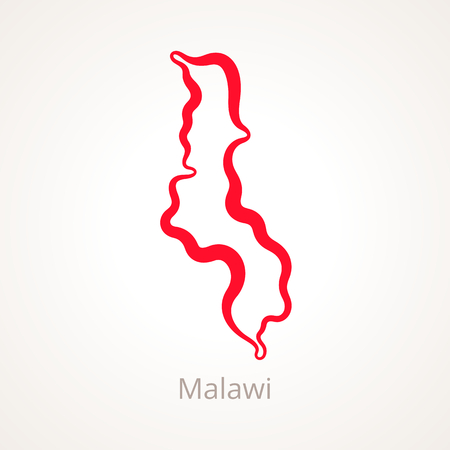 Outline map of Malawi marked with red line.