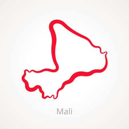 Outline map of Mali marked with red line.