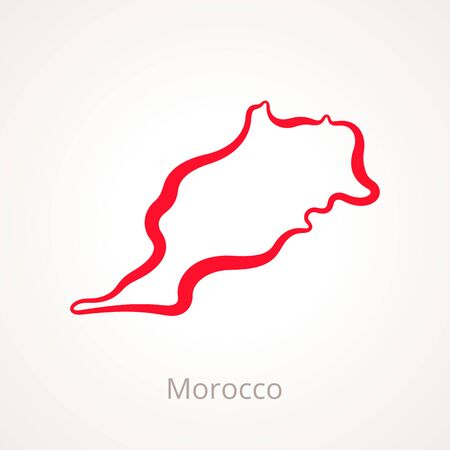 Outline map of Morocco marked with red line.