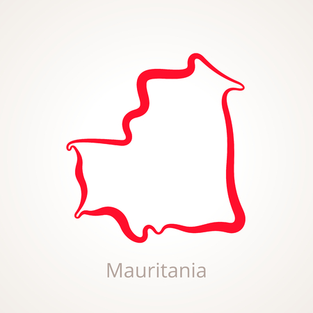 Outline map of Mauritania marked with red line.
