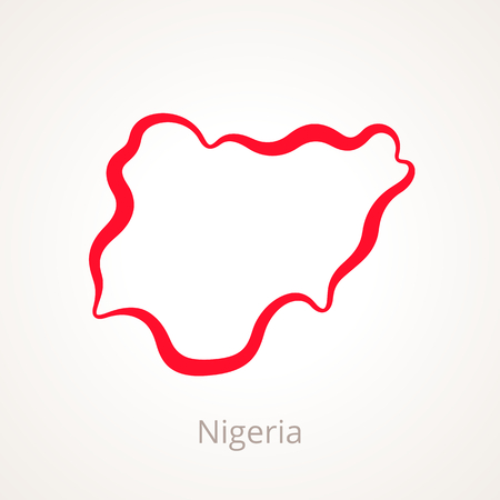 Outline map of Nigeria marked with red line.