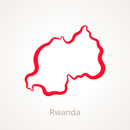 Outline map of Rwanda marked with red line.