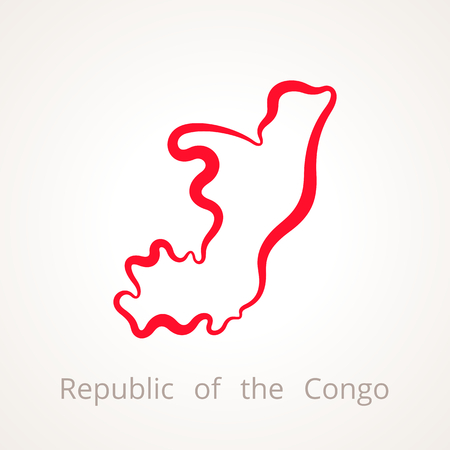 Outline map of Republic of the Congo marked with red line.