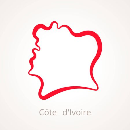 Mapa de contorno de Costa de Marfil marcado con línea roja.