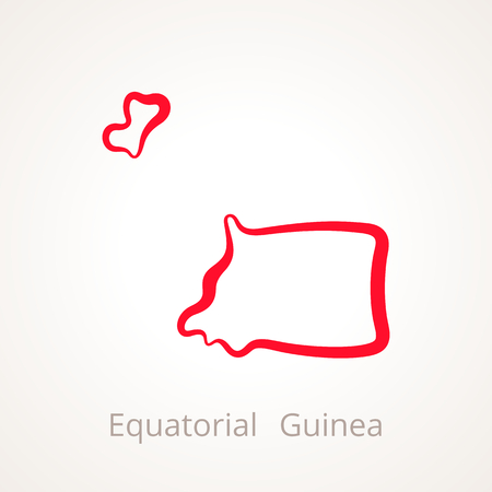 Outline map of Equatorial Guinea marked with red line. Illustration