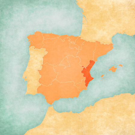 Valencian Community (Spain) on the map of Iberian Peninsula in soft grunge and vintage style on old paper.