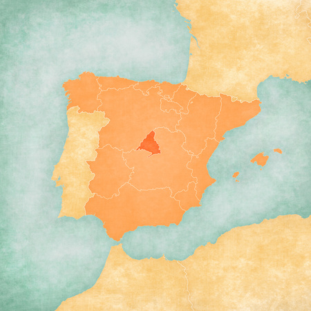 Madrid (Spain) on the map of Iberian Peninsula in soft grunge and vintage style on old paper. Stock Photo