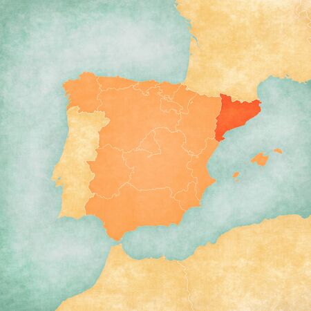 Catalonia (Spain) on the map of Iberian Peninsula in soft grunge and vintage style on old paper.