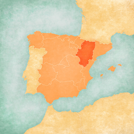 Aragon (Spain) on the map of Iberian Peninsula in soft grunge and vintage style on old paper.