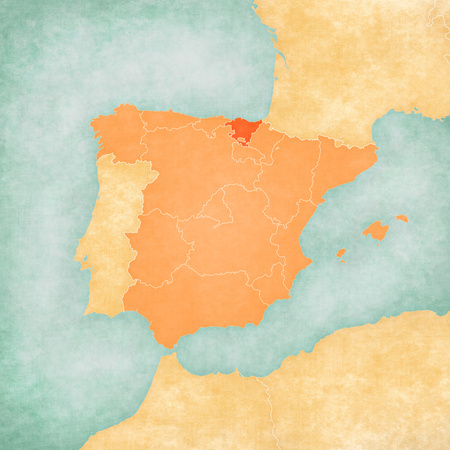 Basque Country (Spain) on the map of Iberian Peninsula in soft grunge and vintage style on old paper.