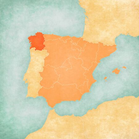 Galicia (Spain) on the map of Iberian Peninsula in soft grunge and vintage style on old paper. Banco de Imagens - 81775302