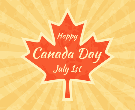 Happy Canada Day on Maple Leaf. Greeting card for in vintage and retro style. Illustration