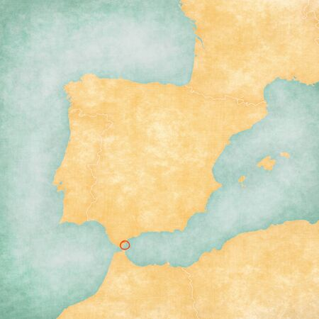 Gibraltar on the map of Iberian Peninsula in soft grunge and vintage style on old paper.