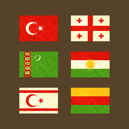 Flags of Turkey, Georgia, Turkmenistan, Kurdistan, Northern Cyprus and Rojava. Flags with light grunge dirty effect. Çizim