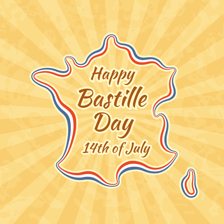fourteenth: Happy Bastille Day and 14th July. Greeting card for French National Day. Retro with vintage pattern.