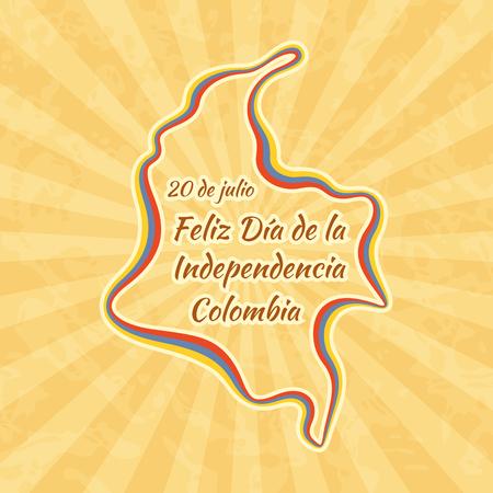 콜롬비아에서의 행복한 독립 기념일. 7 월 20 일 인사말 카드. 빈티지 배경 복고풍입니다. 일러스트