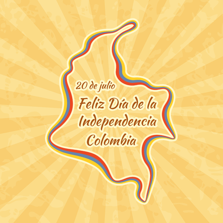 Happy Independence Day in Colombia. Greeting card for 20 July. Retro with vintage background. Illustration