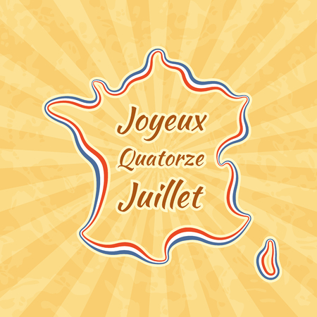 Happy Bastille Day and 14th July. Greeting card for French National Day. Retro with vintage background. Illustration