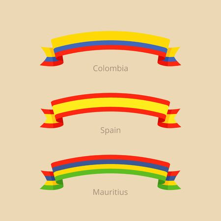 Ribbon with flag of Colombia, Spain and Mauritius in flat design style. Illustration