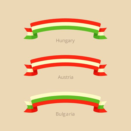 Ribbon with flag of Hungary, Austria and Bulgaria in flat design style. Illusztráció