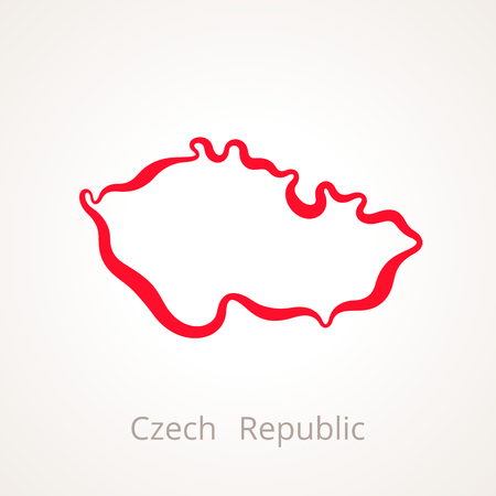Outline map of Czech Republic marked with red line 矢量图像
