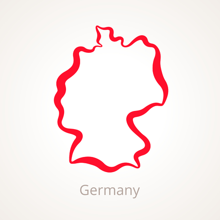 Outline map of Germany marked with red line Illustration