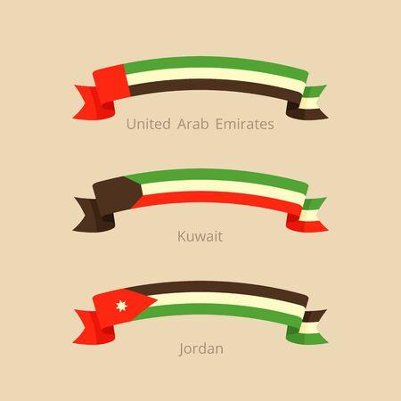 Lint met vlag van Verenigde Arabische Emiraten, Koeweit en Jordanië in platte design stijl.