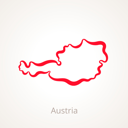 Outline map of Austria marked with red line.