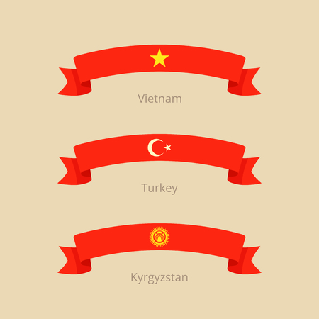 Ribbon with flag of Vietnam, Turkey and Kyrgyzstan in flat design style. Illustration