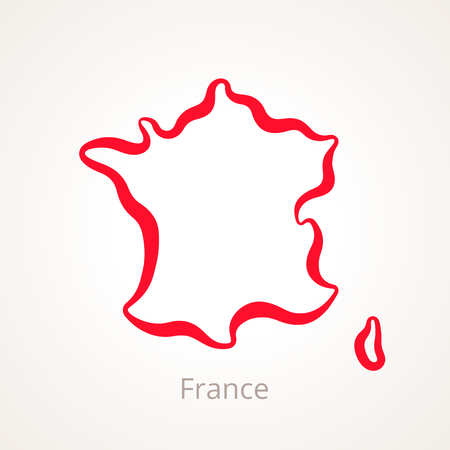 빨간색 선으로 표시된 프랑스의 개요지도.