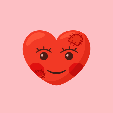 Simple illustration of heart with smiling face and patchs. Ilustração